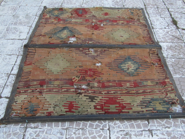 West Anatolian Turkish Kilim double it was used as a door. the edges are reinforced with leather Size=200x147