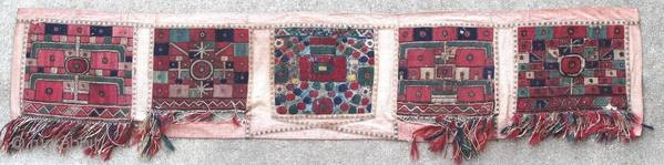 Five fragments of 19th century embroidery, mounted on a used fabric. Each square measures approximately 28 x 25 cm.  Origin : Greece Period : 19th century Size : 174 x 35 cm Material : wool on  ...