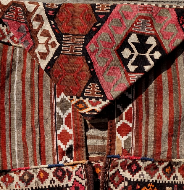 Complete Mafrash, bag for storing and transporting bedding and garments or used as a baby cradle, Gazakh group, Azerbaijan. Mostly natural colours, very good condition,first quarter of 20th century.