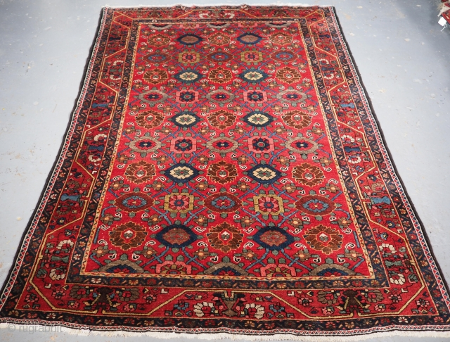 Antique Bakhtiari village rug with all over mina khani design. www.knightsantiques.co.uk 