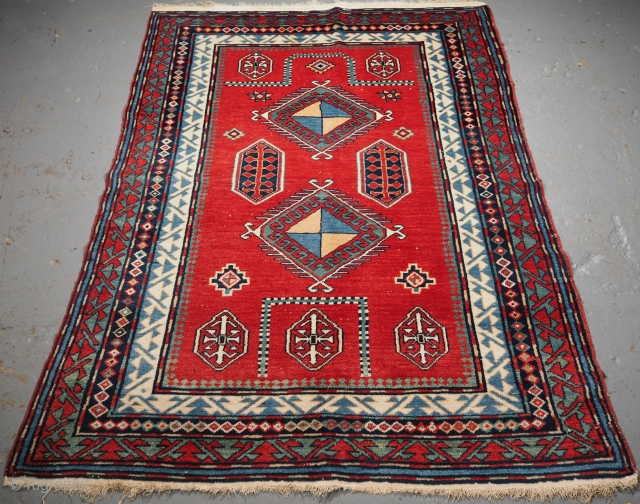 Old Caucasian Erivan rug with Bordjalou Kazak prayer rug design. www.knightsantiques.co.uk  Size: 5ft 9in x 4ft 2in (175 x 127cm).  Circa 1920.  A very good Erivan rug with a very well drawn example of  ...