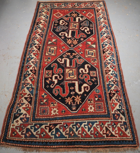 Antique Caucasian Karabagh Chondzoresk region cloud band Kazak rug. www.knightsantiques.co.uk  Size: 8ft 1in x 4ft 2in (246 x 128cm).  Circa 1890.  These rugs were woven by Armenian weavers in the Duchy of Khachen  ...