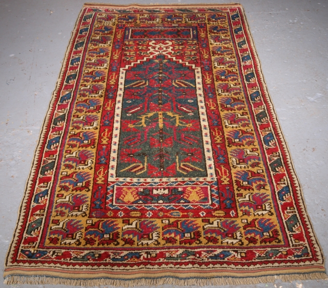 Size: 6ft 8in x 3ft 10in (202 x 118cm). www.knightsantiques.co.uk   Antique West Anatolian Izmir region prayer rug of scarce type.  Circa 1890.  This is a scarce rug woven in the Izmir region at the  ...