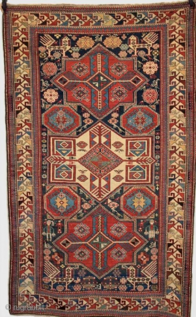 Antique Caucasian Shirvan Akstafa star medallion rug from the Eastern Caucasus. Size: 7ft 5in x 4ft 6in (226 x 136cm). www.knightsantiques.co.uk 