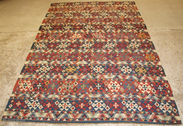Antique South Caucasian Shirvan kilim of outstanding colour and traditional banded design. www.knightsantiques.co.uk Size: 10ft 2in x 5ft 9in (309 x 176cm).   Circa 1880.  A very good example of type, with a banded  ...