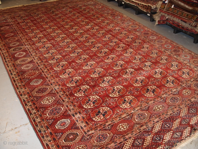Antique Tekke Turkmen main carpet of large size with 5 rows of 17 guls. www.knightsantiques.co.uk Size: 13ft 9in x 8ft 2in (420 x 250cm).   Circa 1890.  The carpet is of a very unusual  ...