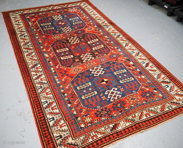 Antique Caucasian Chajli rug with all triple medallion design. www.knightsantiques.co.uk 