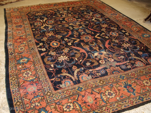 Antique Persian Mahal carpet with all over large scale design. www.knightsantiques.co.uk   Circa 1900.  The carpet is very striking with a large scale design and soft pastel colours on a deep indigo field. The  ...