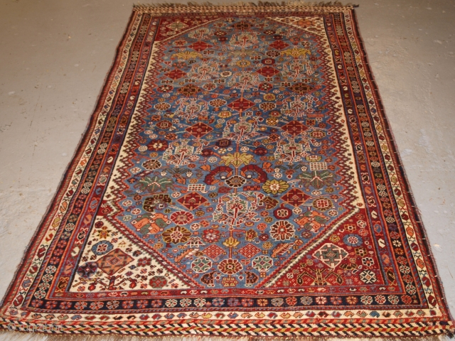 A good Antique Tribal Qashqai rug with unusual all over design on a sky blue ground. www.knightsantiques.co.uk   Circa 1880.  The rug has a very light indigo blue ground which is covered with a  ...