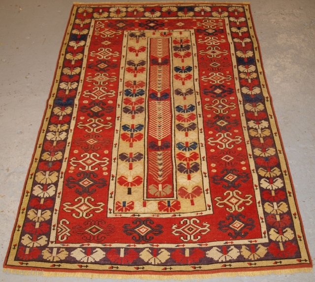 Antique Western Anatolian Milas rug of scarce design with superb soft wool and wonderful colour. www.knightsantiques.co.uk   Circa 1850.  This beautiful rug belongs to a small group of Milas rugs with this scarce design  ...