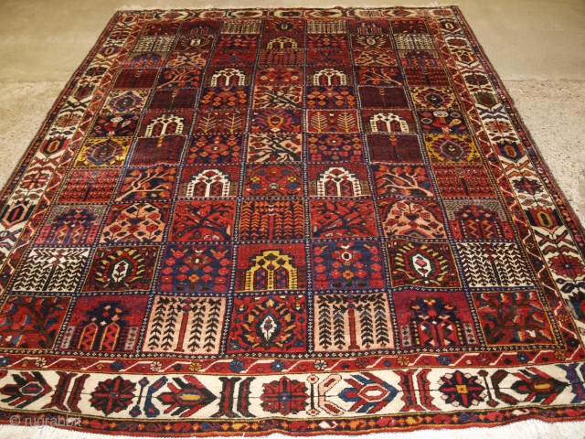 Antique Persian Bakhtiari carpet of the garden design. www.knightsantiques.co.uk   Circa 1900/20.   A good example of a garden carpet with each compartment containing a different tree or flower. The carpet has a wonderful  ...