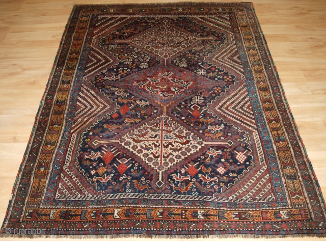 Antique South West Persian Khamseh Rug with three linked medallions. www.knightsantiques.co.uk   Circa 1890.  A tribal rug of the classic bird design with the medallions and field covered with pecking chickens. The rug has  ...