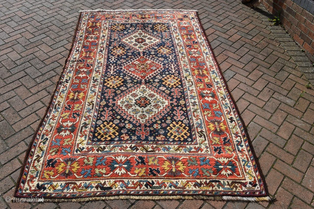 n exceptional antique South West Persian Luri rug of unusual proportions, great wool with a multitude of glowing natural dyes. Crisply drawn and quite fine for its type. A substantial piece that  ...