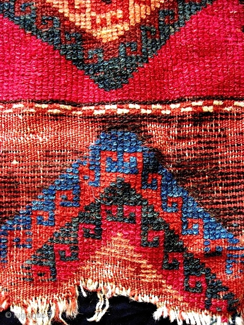 Early and unusual E. Anatolian rug fragment w/ intense colors, including an amazing emerald green. See www.gallery51.net for more photos.