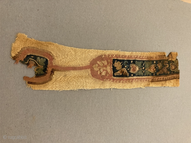 Colorful, fine Coptic fragment, wool and linen...