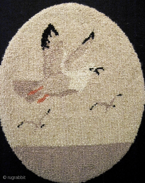 Truly charming little Grenfell mat, with what seems to be a rather rare motif of seagulls over the ocean. I've seen many Grenfell pieces along the way, but never with seagulls. Measures  ...