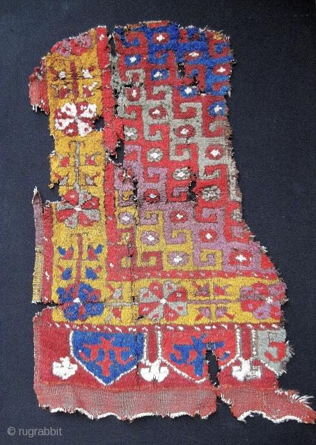 "early Konya fragment, 21"" x 32"", killer colors, good pile"