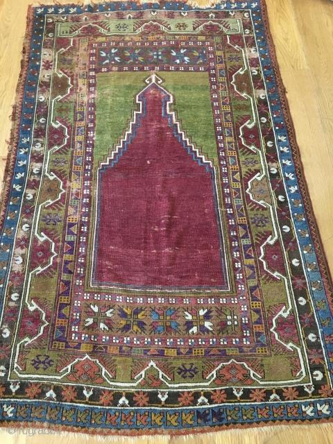 Antique Turkish prayer rug...Kirshehir?   Outstanding purple!