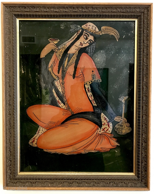 """Evocative Persian reverse paintings on glass. Old. Pair.  With frame, 16"""" x 20"""".  Late Qajar?"""