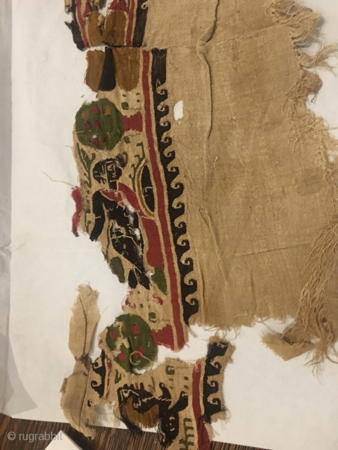 Long, narrow Coptic textile fragment with well defined figure and spotted animal....great color.