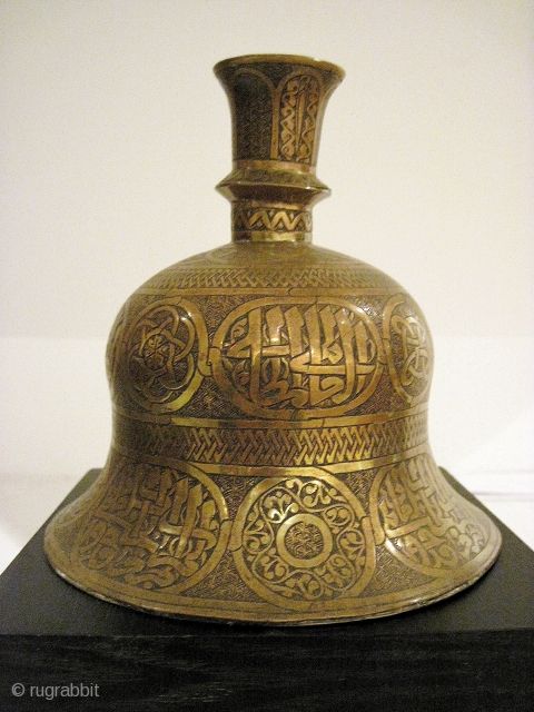 Mamluk revival hookah base (or possibly candle holder?), in brass, 19th C., Egypt or Syria. Elaborately and elegantly hand decorated.