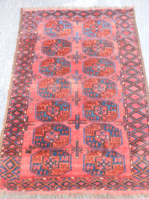 Turkman Ersari, late 19th century, 3-4 x 4-11 (1.02 x 1.50), good condition, rug was hand washed, great blues, wear, part of kilim ends, original cord edges, rug looks darker in person,  ...