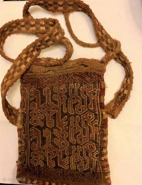 Pre Columbian Chuspa (Chuspas) bag for carrying coca leaves, Inca.  In nice condition.  Wonderful graphics.  Please ask for additional photos.