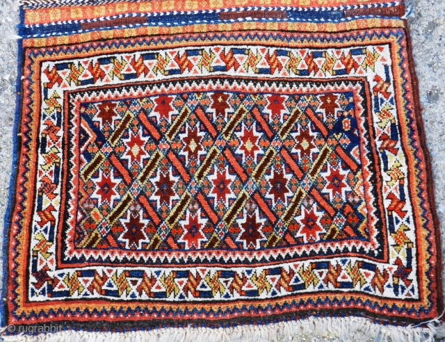 Antique Qashqai bagface, stars and lattice design, in beautiful condition, lovely wool, first quarter of the 20th century.  I currently have the matching bagface.  Sold individually or together.  Please  ...