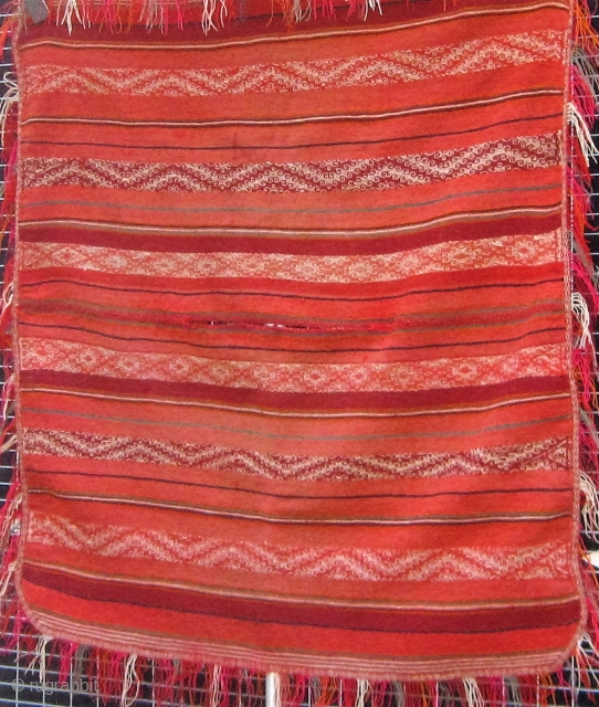 """Antique Quechua poncho (ponchito), Peru, early/mid. 20th century, in good condition.  36"""" by 38"""".  Fringed all around with corners rounded by folding.  Dyes may be a mixture of natural  ..."""