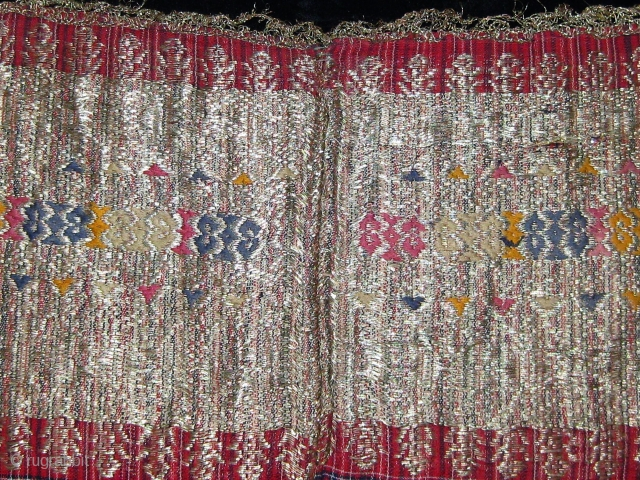 Antique West Sumatra Minangkabau Songket (large hip cloth).  Silk, cotton, and gold thread.  19th century.  In good condition.  75cm by 246cm.
