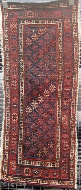 "Antique Lur (Luri) panel in soumak weave, circa 1900, ends secured, sides rewound, all  dyes presumably natural, 19"" by 46"".  Please ask for additional photos if needed."