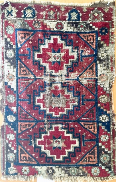Antique Central Anatolian yastik, last quarter of the nineteenth century, classic design, obvious condition issues.  All dyes appear natural.