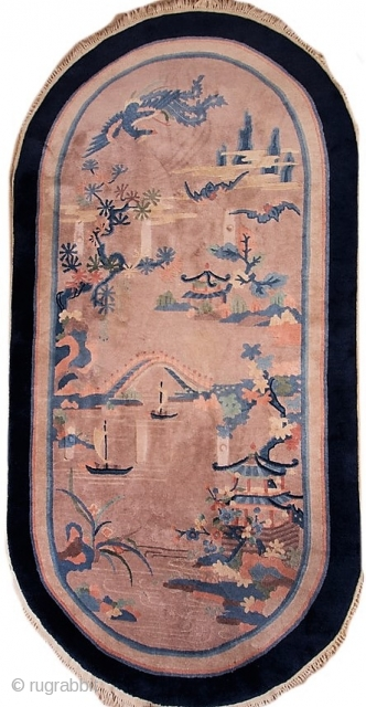 """Antique Chinese Art Deco pictorial rug with rounded ends.  Circa 1930-1940.  In very good condition.  49"""" by 98""""."""