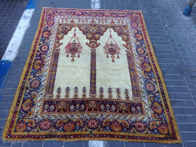 Prayer rug turki silk antiqe size:185x138-cm