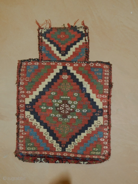 Persian Salt Bag  circa 1890s-1910 wool and cotton  overall in good shape as imaged  15''x22''