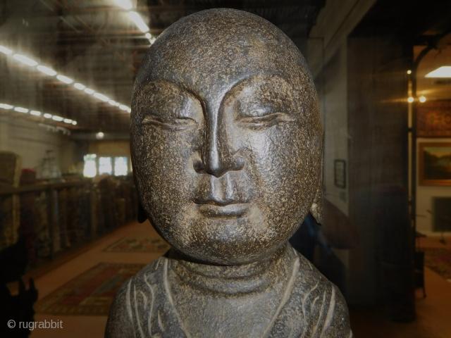 Amazing Antique carved stone Asian Buddha Disciple 27'' tall  damage base as imaged