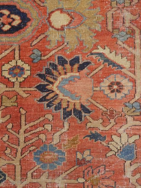 7'10''x12'3'' Serapi rug circa 1890s  worn as imaged  fine weave