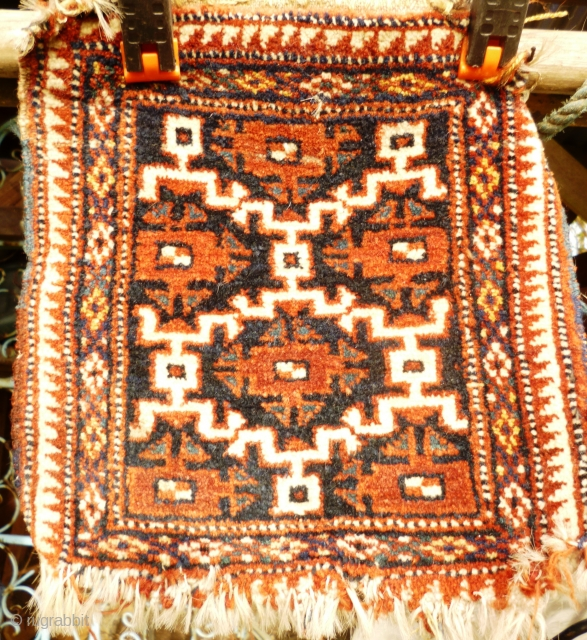 Ak su design fragment from a spindle bag? Possible Turkmen origin on Baluchi bag or original old Turkmen.  Size: 11 1/2 inches x 12 inches. Wool on goat.  nice green and yellow.