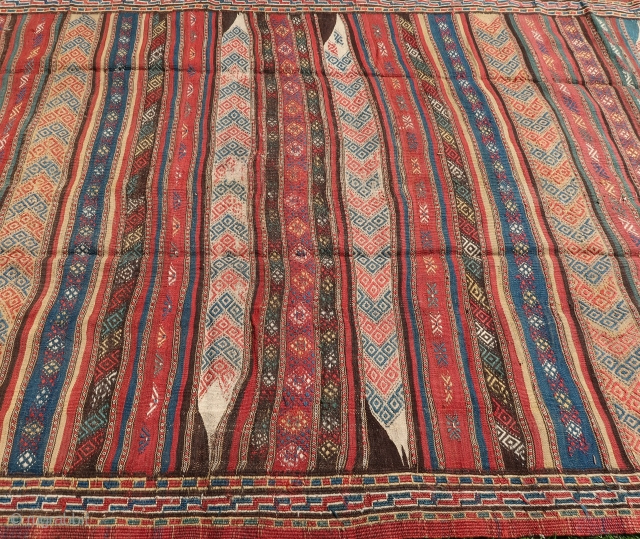 """Kordi, Kilim, brocaded, ca; 345 cm x 185 cm. Wool on wool, good overall condition. Ca. 1930. See also Wilfried Stanzer. """"Kordi"""".page 116-117.Price including worldwide transport.  Watching; Isle of Dogs ( 2018 )  ..."""