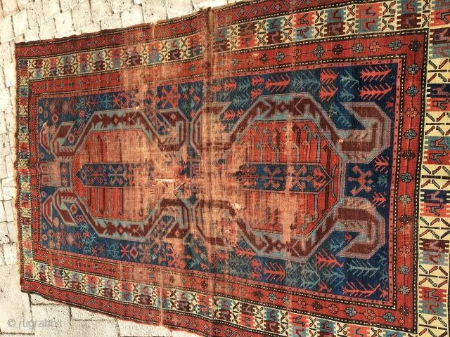 A rare caucasıen rug fragment.Beautıful colors.