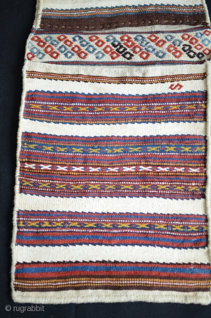 "Varamin or Kordi flatwoven khorjin. 3'9-1/2""X1'3-1/2"". First 1/4 20th C. Wool. All natural colors. Excellent condition. Favorable price."