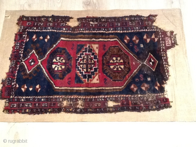 Kurdish carpet yastik from Malatya area  Early 18th century ,already mended on linen  Size : 0,82 x 0,50