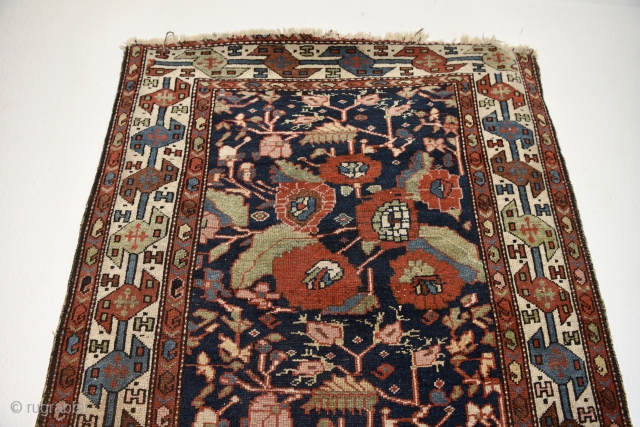 Antique Persian Unusual Malayer rug. Magnificent saturated natural colors with wonderful composition. Shahsavan style border and French inspired rose flowers pattern.  Size: 296cm x 102cm - 116 x 40 inches