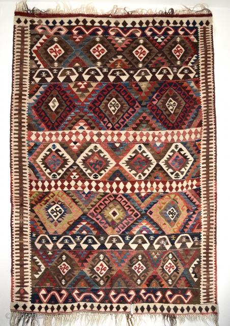 Early 1900's East Anatolian (Van) kilim. Measures 205x142cm / 6'8.71'' x 4'7.91''