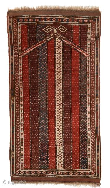 Early 1900's Turkmen Beshir prayer rug. Measures circa 135cm x 72cm/ 4′ 5.1496″ x 2′ 4.3465″