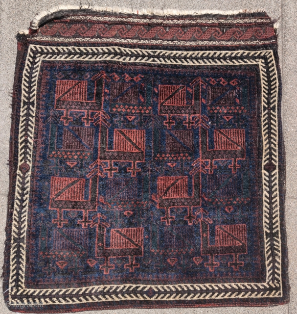 """Baluch bird bag with very glossy soft wool. Complete bag / half khorjin with flatwoven back. 2'4""""x2'6"""""""