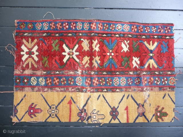 """A handsome South Caucasian fragment from the first half of the 19th century. Lovely saturated color -- measuring 28"""" x 17"""""""