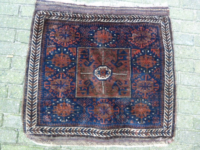 Nice Baluch Bagface, 70 x 75 cm. After a wash it will be very floppy.