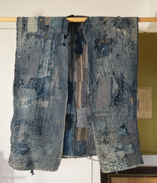 "Indigo Tsugihagi (Patch-Worked) ""Boro"" from 19th century Japan. 