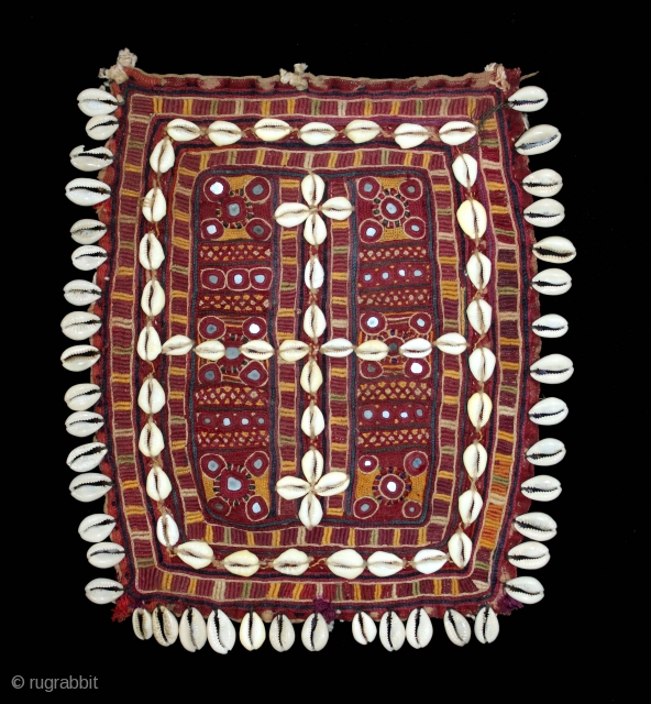 Banjara Gala From Karnataka,South India.C.1900.Embroidered on cotton.Gala is Traditionally Used by Women to Carry Pots on their Heads.Its size is 25cm x 29cm.(DSL03540).